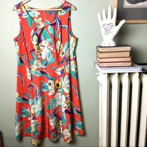 Dress Barn Floral Dress A-line bright 16W